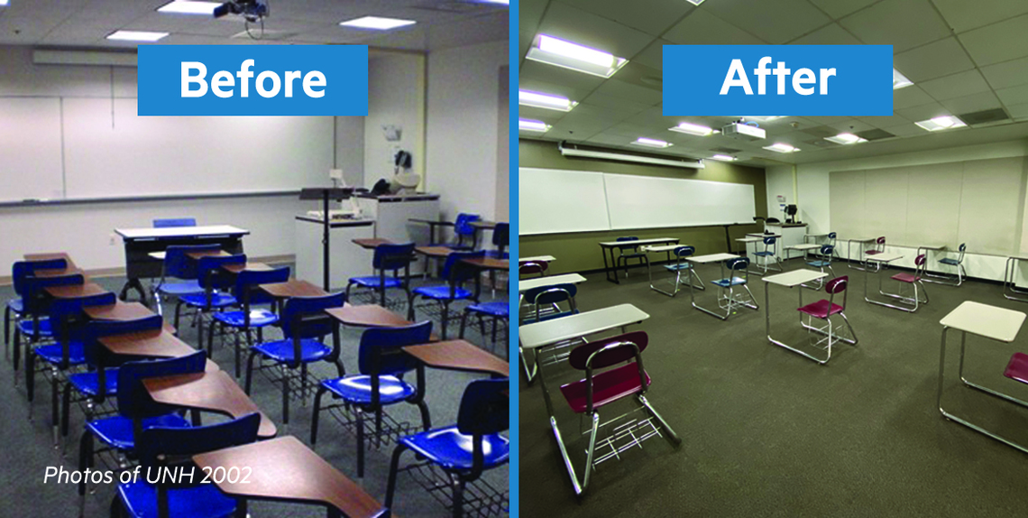 A Classroom Before and After reconfiguring for Covid