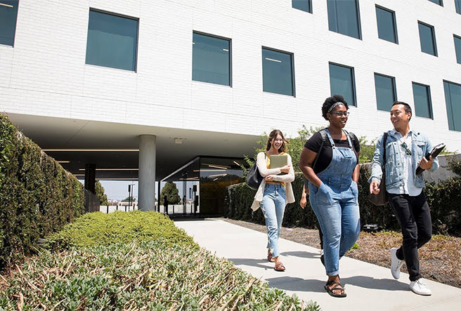 Students walking in front of LMU Playa Vista Campus