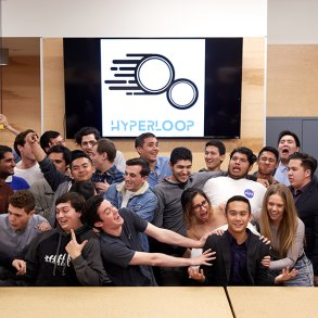 the hyperloop team celebrating