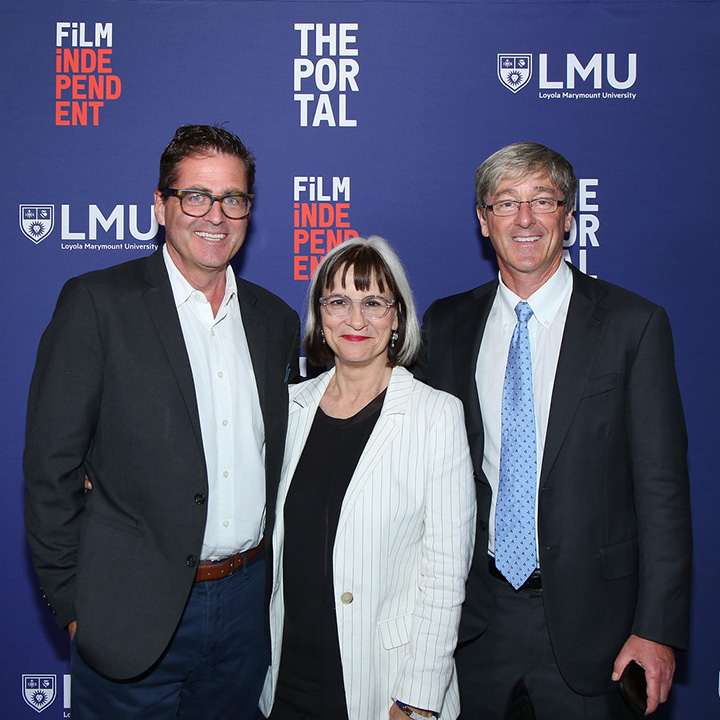 Film Independent President Josh Welsh, LMU School of Film and Television Dean Peggy Rajski, and LMU President Timothy Law Snyder standing