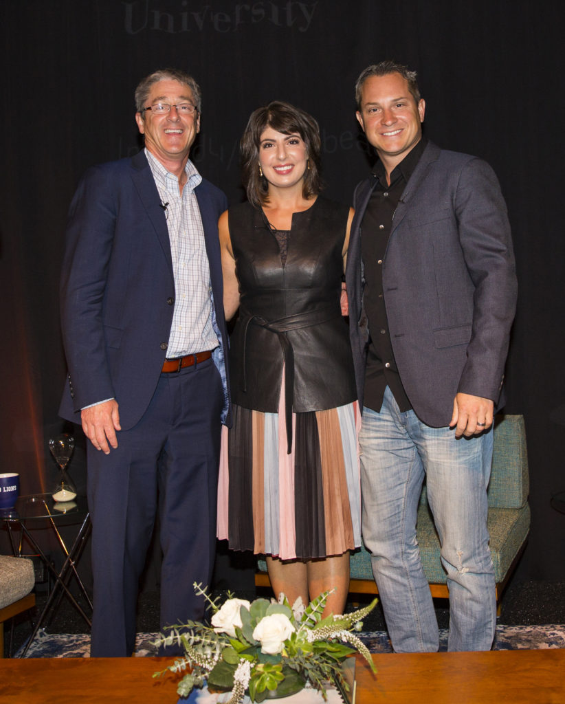 President Timothy Law Snyder, Ph.D., Claudine Cazian Britz, '00, head of entertainment partnerships for Instagram; and Sean Kane, '99, entrepreneur and co-founder of the Honest Co. took part in a recent Playa Vista networking event.