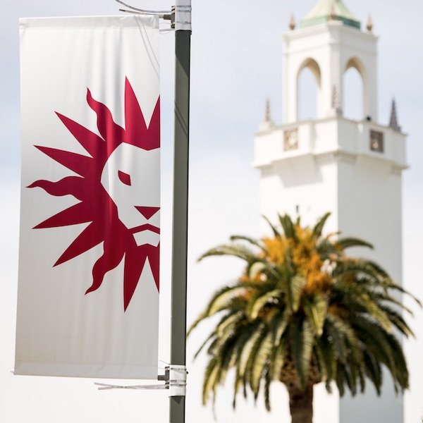 Spirit mark flag with chapel tower and palm tree in the distance
